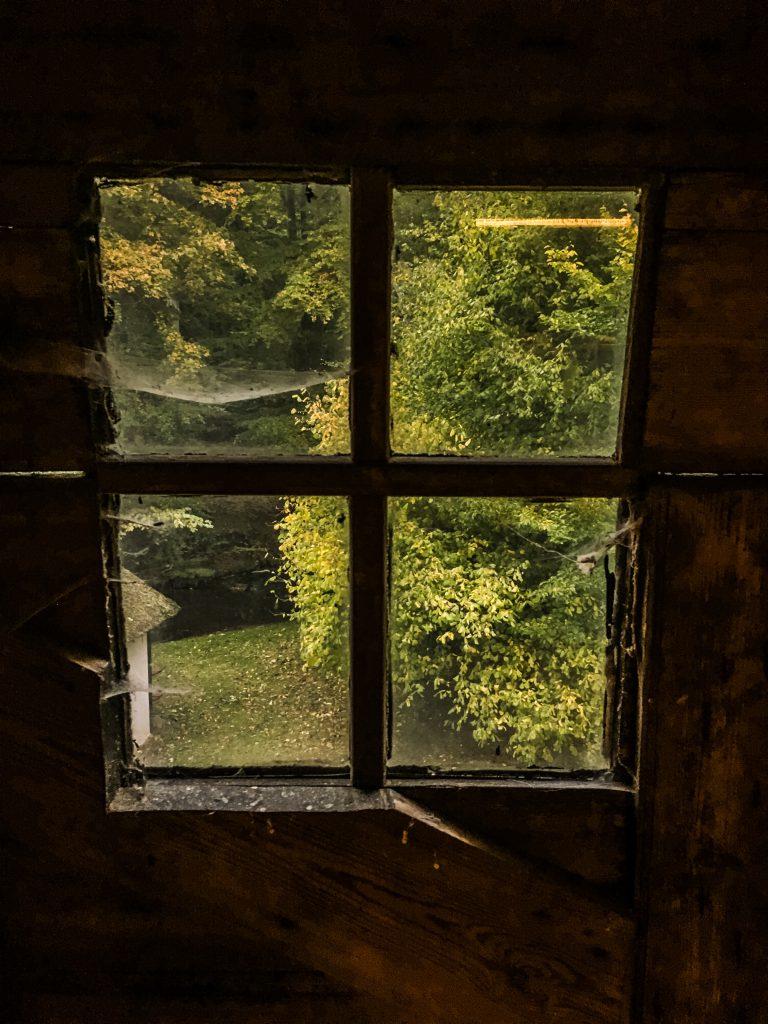 Kig fra vinduet på bagsiden af møllen